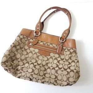 Coach brown shoulder bag purse monogram medium